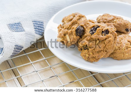 Homemade Raisin cookies, Tasty cookies For an afternoon snack - stock photo