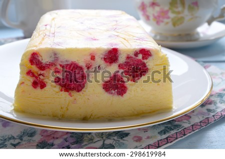 Homemade raspberry ice-cream dessert semifreddo, italian cuisine. Selective focus - stock photo