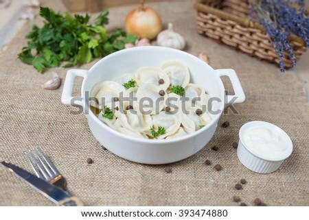 homemade ravioli - stock photo