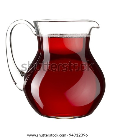 Homemade red wine in the transparent glass jar on white background - stock photo