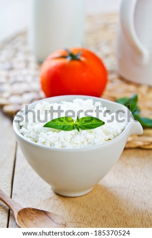 Homemade Ricotta cheese by a jug of milk - stock photo