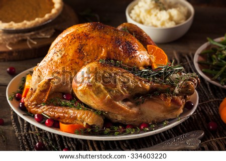 Homemade Roasted Thanksgiving Day Turkey with all the Sides - stock photo