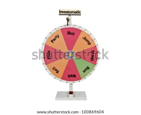Homemade roulette investment pin wheel of chance. - stock photo