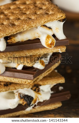 Homemade S'more with chocolate and marshmallow on a graham cracker ...