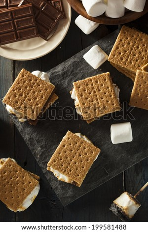 Homemade S'mores with Marshmallows Chocolate and Graham Crackers ...
