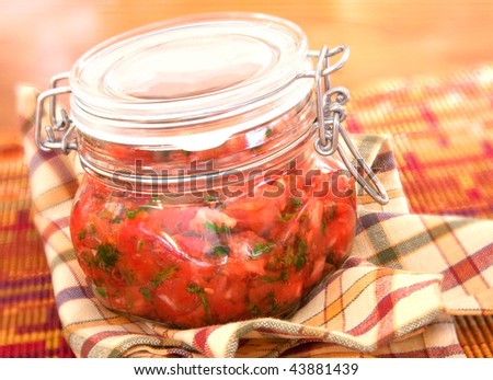 homemade salsa in canning jar