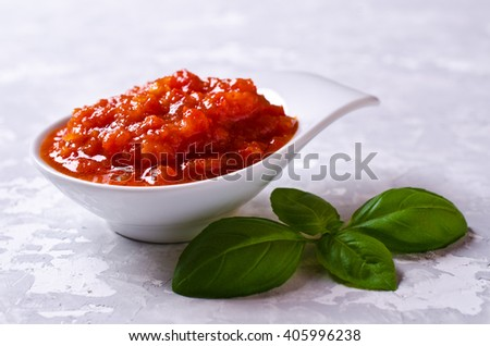 Homemade sauce of vegetables on the table. Selective focus. - stock photo