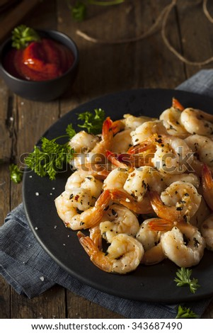 Homemade Sauteed Shrimp with Herbs and Garlic - stock photo