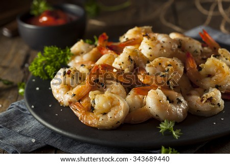 Homemade Sauteed Shrimp with Herbs and Garlic - stock photo