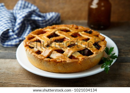 Homemade savory pie with minced meat