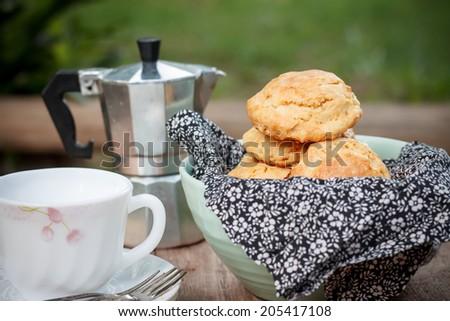 homemade scone in tea time - stock photo