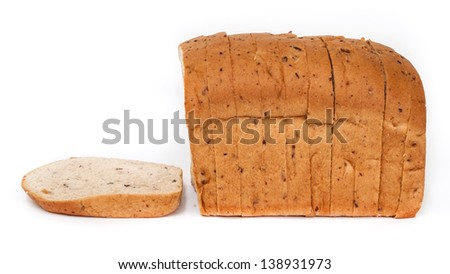 Homemade slided  bread isolated on white background.