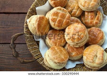 Homemade Small Bread Stuffed With Crackling - stock photo