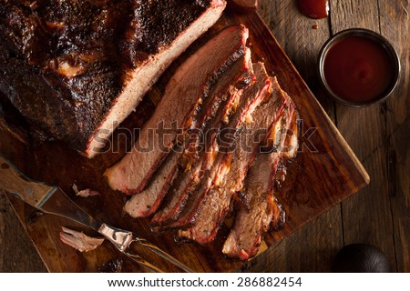 Homemade Smoked Barbecue Beef Brisket with Sauce - stock photo