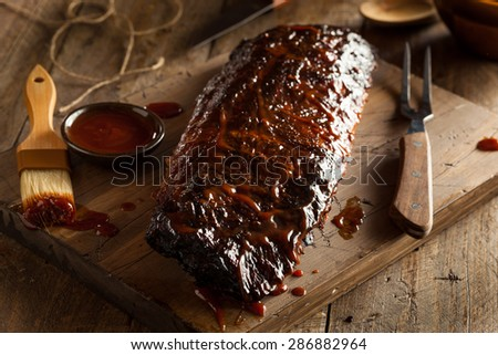 Homemade Smoked Barbecue Pork Ribs Ready to Eat - stock photo