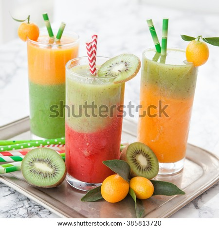 Homemade smoothie from a variety of fruits - stock photo
