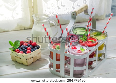 Homemade smoothie with fruits - stock photo