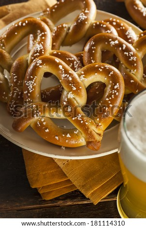 Homemade Soft Pretzels with Salt Ready to Eat - stock photo