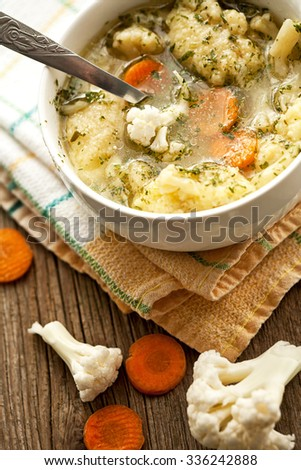 homemade soup with cauliflower - stock photo