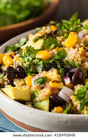 Homemade Southwestern Mexican Quinoa Salad with Beans Corn and Cilantro