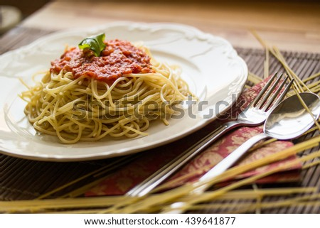 Homemade Spaghetti bolognese served in the kitchen