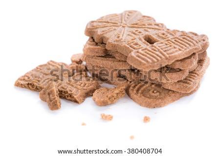 Homemade Spekulatius (German cuisine) isolated on white background - stock photo
