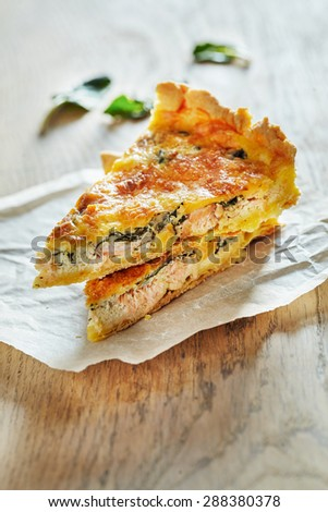 Homemade Spinach and Salmon Quiche - stock photo