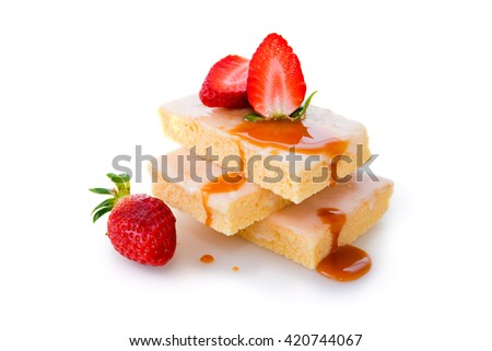 Homemade strawberry  cake isolated on white.