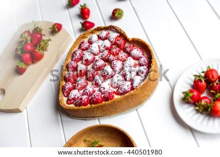 Homemade Strawberry Cheesecake for dessert - stock photo