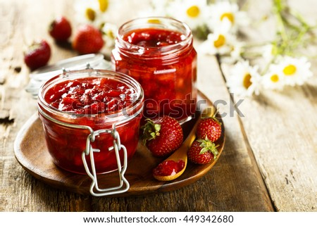 Homemade strawberry marmalade with cinnamon - stock photo