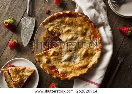 Homemade Strawberry Rhubarb Pie Ready to Eat - stock photo