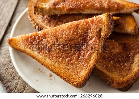 Homemade Sugar and Cinnamon Toast for Breakfast - stock photo