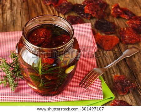 homemade sun dried tomatoes in olive oil