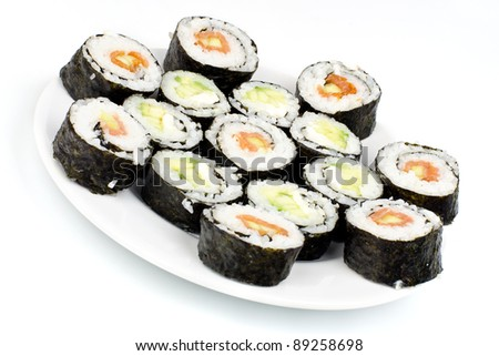 Homemade sushi slices on plate on white background