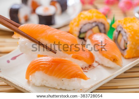 Homemade sushi with salmon,Japanese food