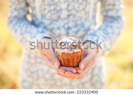 Homemade sweet cupcake in female hands - stock photo