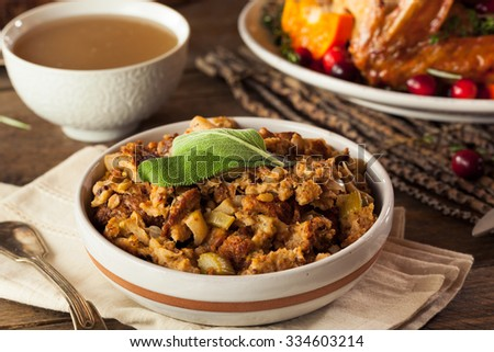 Homemade Thanksgiving Day Stuffing with Sage and Celery - stock photo