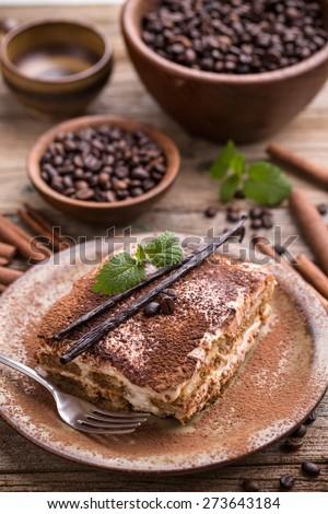 Homemade tiramisu, a traditional Italian dessert - stock photo