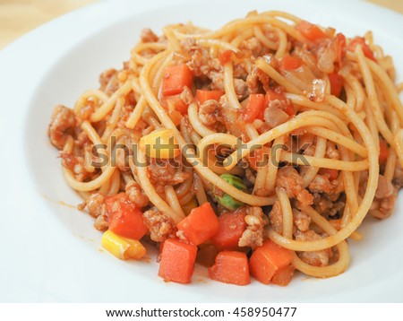 homemade tomato pasta on the wood table