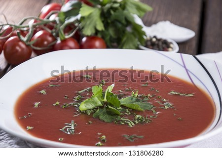 Homemade Tomato Soup with fresh herbs