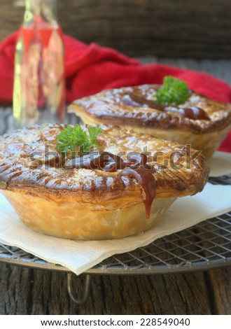 Homemade traditional Australian meat pie - stock photo