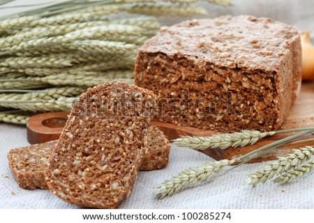 homemade traditional bread - stock photo