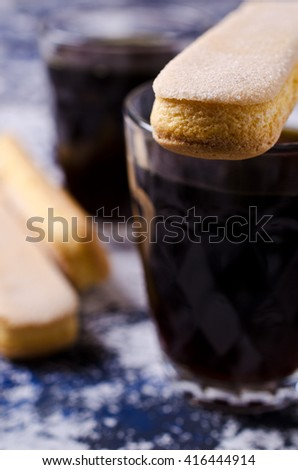 Homemade traditional italian cookie savoiardi. Selective focus