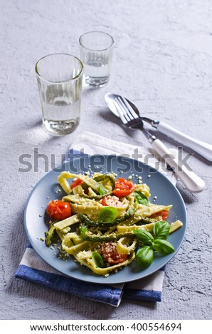 Homemade traditional pasta with vegetables and cheese. Selective focus. - stock photo