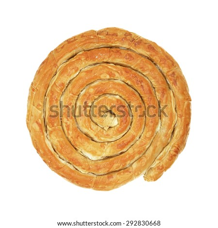 Homemade Twisted Cheese Pie Isolated on White - stock photo
