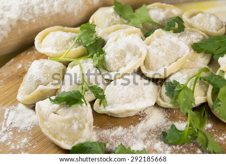 Homemade uncooked ravioli on wooden tray - stock photo