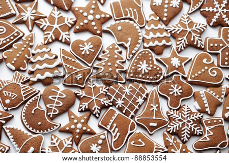 homemade various gingerbreads - sweet food /shallow DOFF/ - stock photo