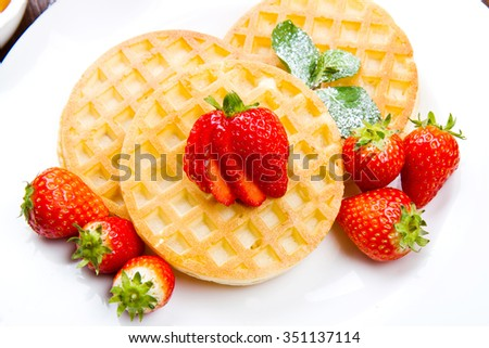 Homemade waffles with fruit - stock photo