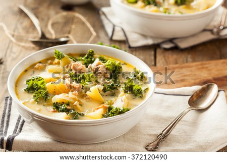Homemade Warm Creamy Tuscan Soup with Sausage and Kale