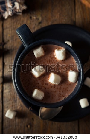 Homemade Warm Hot Chocolate with White Marshmallows